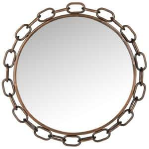 Atlantis Chain Link 26 in. x 26 in. Round Framed Mirror