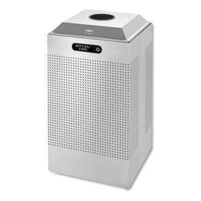 Silhouette 29 Gal. Silver Square Can/Bottle Recycling Container