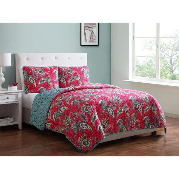 Morgan Home Mhf Home Avery Paisley Twin Quilt Set M591075 The Home Depot