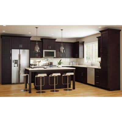 Franklin Assembled 33x90x24 in. Plywood Shaker Oven Kitchen Cabinet Soft Close in Stained Manganite