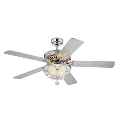 Bon 52 in. Indoor Chrome Finsh Remote Controlled Ceiling Fan with Light Kit