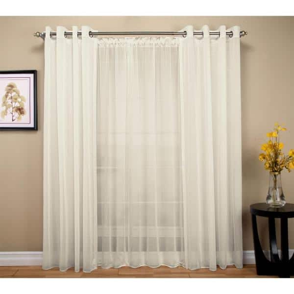 Ricardo Trading Ivory Solid Extra Wide, Double Rod Pocket Sheer Curtains