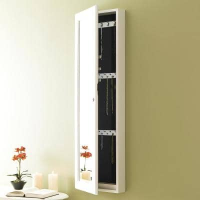 48-1/4 in. x 14-1/2 in. Frosty White Wall-Mounted Jewelry Armoire with Mirror