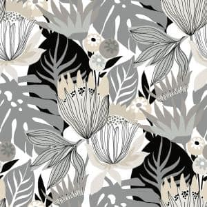 Retro Tropical Leaves Grey and Beige Peel and Stick Wallpaper (Covers 28.29 sq. ft.)