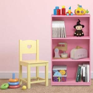 39.5 in. Pink Wood 3-shelf Standard Bookcase with Storage