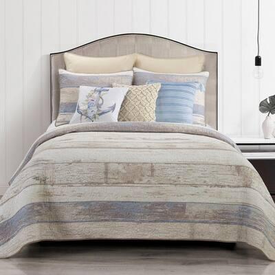 Bleached Boardwalk 3-Piece Beige Cotton King Quilt Set