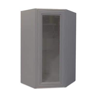 Grey Plywood Shaker Stock Ready to Assemble Wall Diagonal Glass Door Corner Kitchen Cabinet 24 in. W x 12 in. D