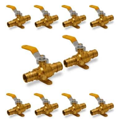 3/4 in. Heavy Duty Brass Full Port Drop Ear PEX Ball Valve with Drain with Expansion PEX Connection (10 Pack)