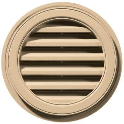 18 in. x 18 in. Round Beige/Bisque Plastic Weather Resistant Gable Louver Vent