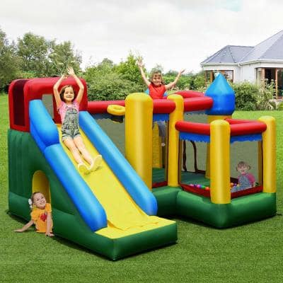 Multi-Color Mighty Inflatable Bounce House Castle Jumper Moonwalk Bouncer with 735-Watt Blower