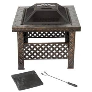 26 in. Steel Square Woven Fire Pit with Cover