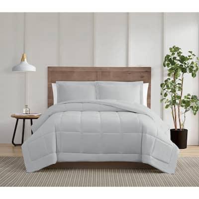 Silver Cool 3-Piece Grey Cotton Full/Queen Comforter Set