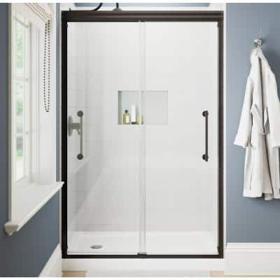 Ashmore 48 in. W x 74-3/8 in. H Sliding Frameless Shower Door in Bronze with 5/16 in. (8 mm) Clear Glass