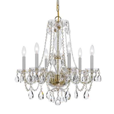 Traditional Crystal 6-Light Polished Brass Crystal Chandelier
