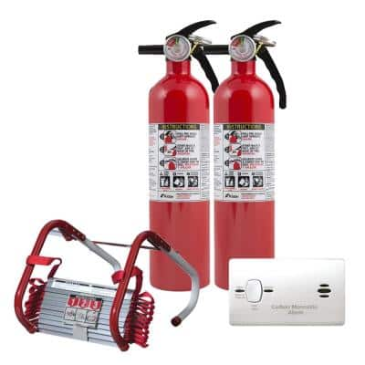 2-Story Home Fire Safety Kit, 6-Pack Battery CO Detector with 2-Pack Fire Escape Ladder & 2-Pack Fire Extinguisher