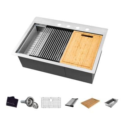 All-in-One Drop-In Stainless Steel 27 in. 4-Hole Single Bowl Kitchen Workstation Sink with Accessories Kit