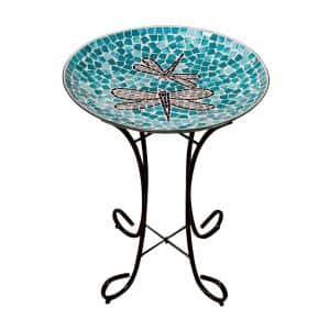 24 in. Tall Outdoor Mosaic Dragonfly Glass Birdbath Bowl with Metal Stand