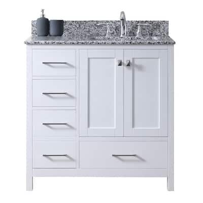 Caroline Madison 36 in. W Bath Vanity in White with Granite Vanity Top in Arctic White Granite with Square Basin