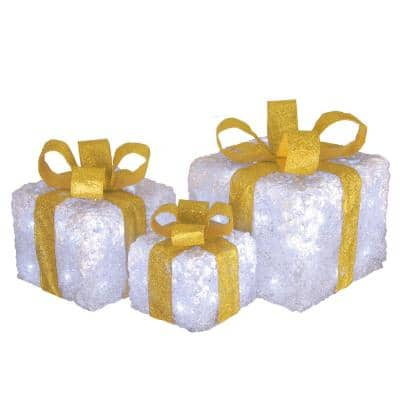 8 in. Glittered White Gift Box Set with Cool White LED Twinkle Lights