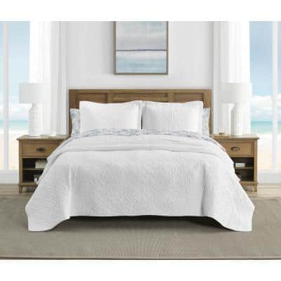 Tommy Bahama Solid 3-Piece White Cotton Full/Queen Quilt Set