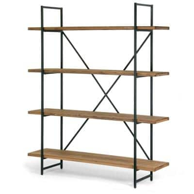 75 in. Brown/Black Metal 4-shelf Etagere Bookcase with Open Back
