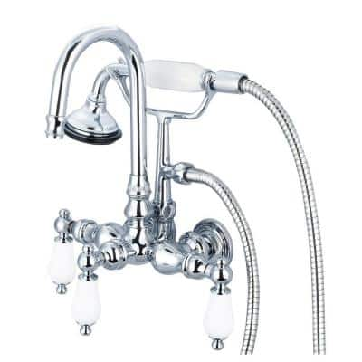 3-Handle Vintage Claw Foot Tub Faucet with Hand Shower and Porcelain Lever Handles in Triple Plated Chrome