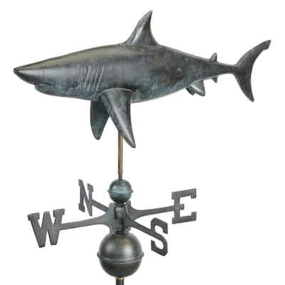 Pure Copper Hand Finished Grey Patina Shark Weathervane