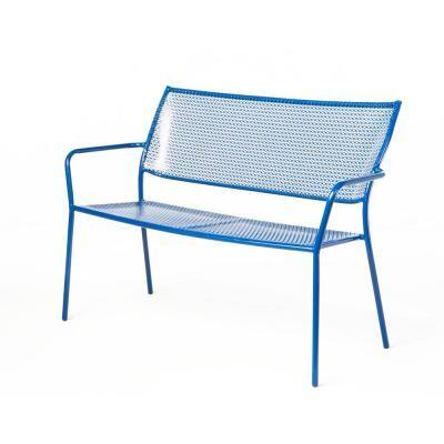 Martini Etta Blue Finish 24 in. Metal Outdoor Garden Bench