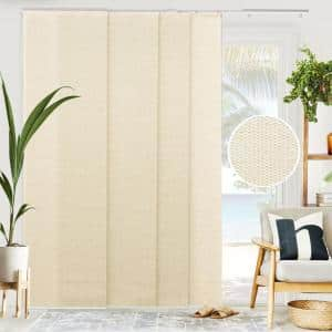 Woven Cut-to-Size Beige Light Filtering Adjustable Sliding Panel Track Blind w/ 23 in Slats Up to 86 in. W X 96 in. L