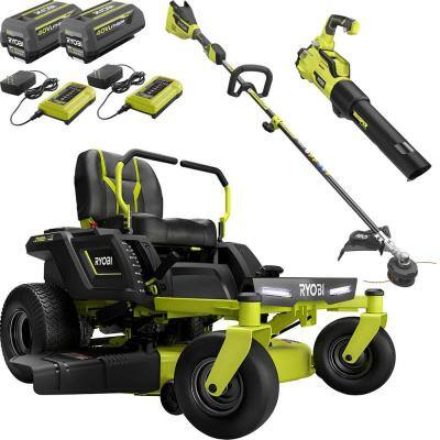 42 in. 75 Ah Battery Electric Riding Zero Turn Mower with 40V String Trimmer and Blower