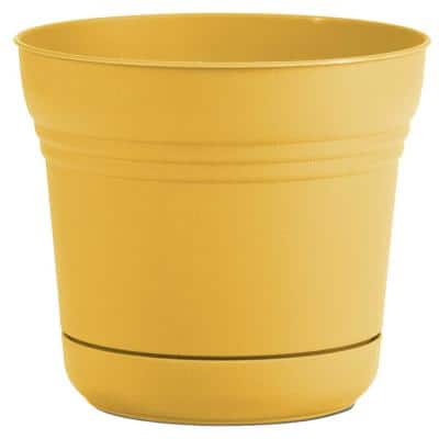 Saturn 14 in. Earthy Yellow Plastic Planter with Saucer