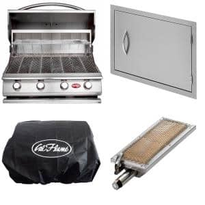 G4 24 in. 4-Burner Built-In LP Grill in Stainless Steel with 27 in. Door, Sear Burner and Cover