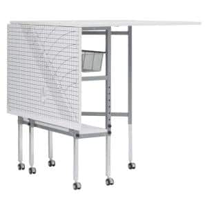 58 in. W x 36 in. D MDF Folding Fabric Cutting Table, Drawers, Grid and Guides Top, Adjustable Height, Silver / White