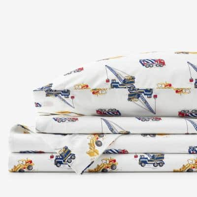 Company Kids Builder's Site 4-Piece Multicolored Graphic 200-Thread Count Organic Cotton Percale Queen Sheet Set