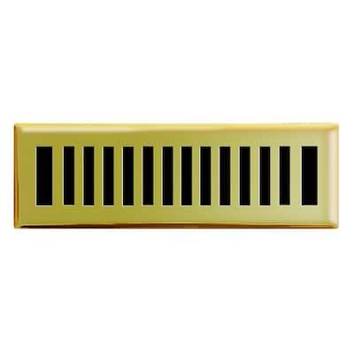2 in. x 10 in. New York Modern Floor Register in Polished Brass