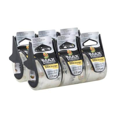 MAX Strength 1.88 in. X 22.2 yds. Packing Tape with Dispenser, Clear (6-Pack)