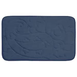 Pelton Dusty Blue 20 in. x 32 in. Memory Foam Bath Mat
