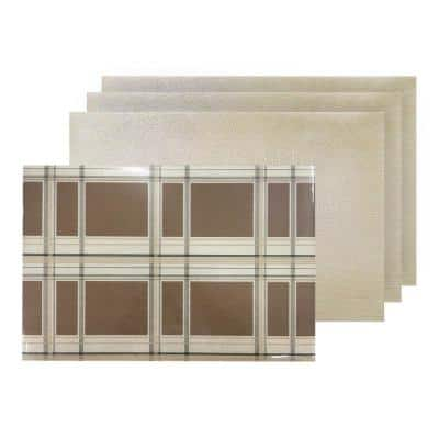 Sidewalk Trench Plaid Reversible Metallic Shimmer Placemat Set of 4, 12 in. x 18 in., Sparkling Brown/Beige/Black