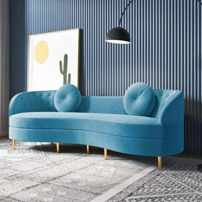 98.43 in. Blue Slope Arm Velvet Upholstered Curved Modern Rectangle 4-Seater Sofa with Gold Legs and Solid Wood Frame