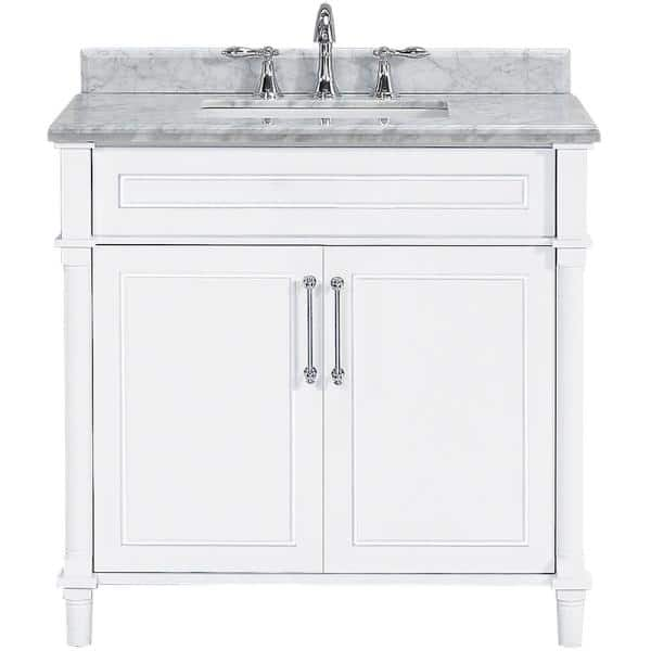 Home Decorators Collection Aberdeen 36 In W X 22 In D Single Bath Vanity In White With Carrara Marble Top With White Sink 8103600410 The Home Depot