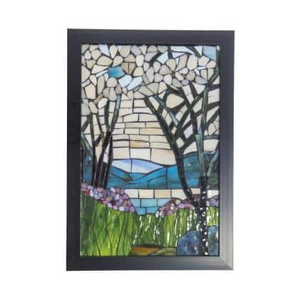 Magnolia Iris 18 in. Wall Art Decor with Hand Rolled Art Glass Style