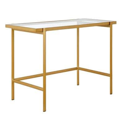Tamar 42 in. Brass Finish Writing Desk with Glass Top