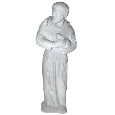 Cast Stone St. Francis Garden Statue Antique Gray