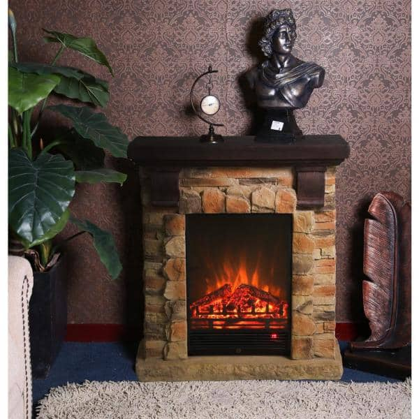 Luxen Home 31 9 In W X 35 8 In H Free Standing Electric Fireplace Heater Mantel With Remote In Polystone Brick Whif993 The Home Depot