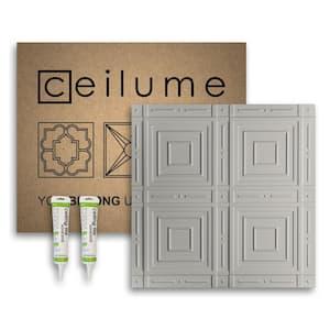 Nantucket 2 ft. x 2 ft. Glue Up Vinyl Ceiling Tile and Backsplash Kit in Stone (21 sq. ft./case)