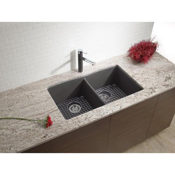 Blanco Diamond Undermount Granite Composite 32 06 In 50 Double Bowl Kitchen Sink Cinder 441470 The Home Depot