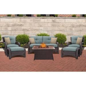 Strathmere 6-Piece Woven Patio Seating Set with Wood Grain-Top Fire Pit with Ocean Blue Cushions