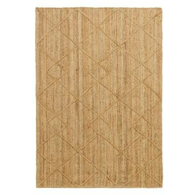 Willow Beige Natural 5 ft. x 7 ft. Braided Jute Trellis Area Rug