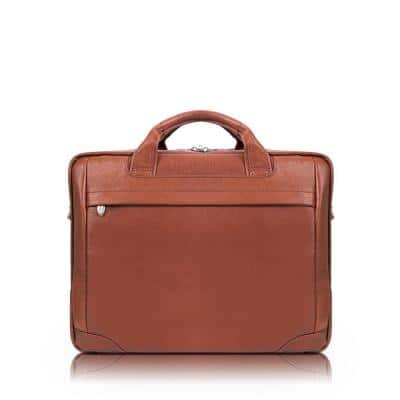 McKlein MONTCLARE, Pebble Grain Calfskin Leather, 13 in. Tablet Briefcase, Brown (15494)