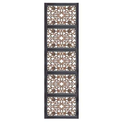 Burnt Black Wooden Rectangular Wall Panel with Intricate Floral Carvings